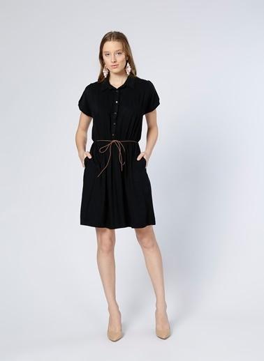 Limon Company Pileli Kısa Elbise Siyah